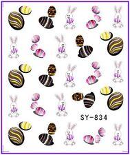 Nail Art Pegatinas Calcomanías de agua transfiere Easter Bunny Conejo huevos de pollo (834)