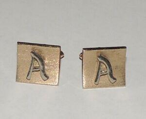 "Vintage Goldtone Swank initial ""A"" cufflinks"