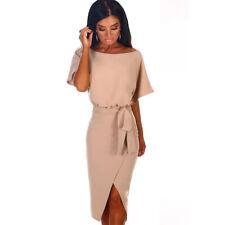 Women's Short SleeveS Split Slit Tie Up Bodycon Midi Dress Summer Evening Party