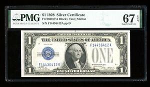 DBR 1928 $1 Silver Superb Gem Fr. 1600 FA Block PMG 67 EPQ Serial F14436412A