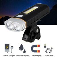 Bicycle Lights USB Rechargeable Bike T6 COB LED Front Headlight Lamp Taillight