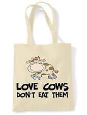 Love Mucche non mangiarli spalla \ Shopping Bag Vegan Vegetariano diritti degli animali