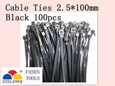 100Pcs Black Electrical Nylon Cable Zip Ties (2.5mm x 100mm) UV Stabilised