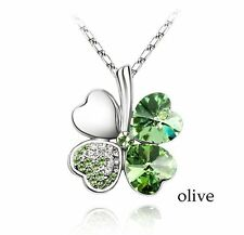 Crystal Necklace Four Clover leaf Green Olive Pendant Snake Link Chain