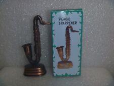 Antique Bronze Finished Die Cast Miniature Pencil Sharpener-Saxophone & Box