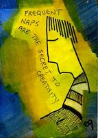 21021288 e9Art ACEO Creativity Nap Sleep Quote Abstract Figurative Outsider Art