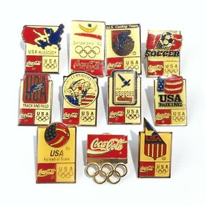1992 BARCELONA SUMMER OLYMPICS LOT OF ELEVEN (11) COCA-COLA PINS SOCCER SWIMMING