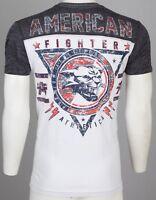AMERICAN FIGHTER Mens T-Shirt JONES Wildcat WHITE Athletic Biker Gym MMA $40