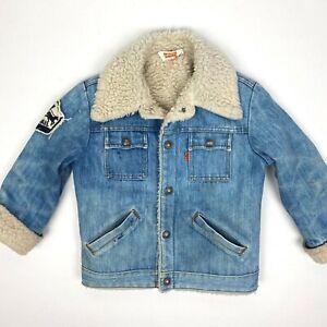 Vintage Levi's Kids Sherpa Lined Orange Tab Denim Trucker Jean Jacket