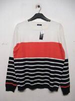 M & Co Women Round neck Colourblock Orange Navy White Striped Jumper Sweater Top