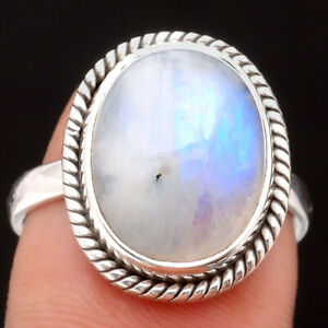 Natural Rainbow Moonstone - India 925 Sterling Silver Ring s.7.5 Jewelry 4673