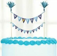 Blue Giraffe Boys Christening Religious Day Party Cake Picks Bunting Topper