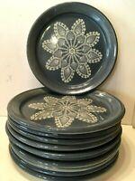 "Studio Pottery TEN Blue Lace Doily Snowflake Christmas 9 1/2"" Luncheon Plates"