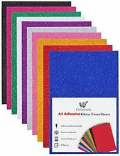 A4 Assorted Foam Glitter Sheets Adhesive Sticky Back Peel Off Acid Free Eva Foam