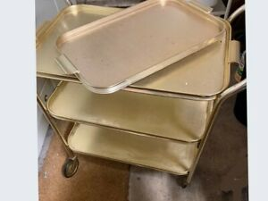 Vintage wheeled Hostess Trolley. Gilt, three level shelves and matching tray