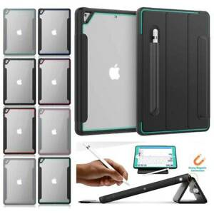 Shockproof Protective Leather Smart Case Cover With Pencil Holder For Apple iPad
