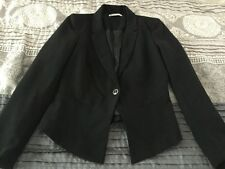 STRADIVARIUS Black One-Button Blazer Jacket Size Medium Lined EUC
