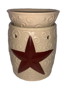 Scentsy Rustic Star Full-size Warmer & Bulb Tan Red Retired
