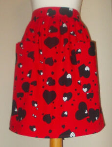 New 'Red Heart Attack ' Vintage Style Half / Waist Apron/Pinny 100% Cotton