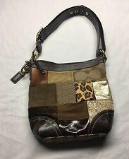 Coach Bag Patchwork Shoulder/Crossbody Brown Leather Adjustable Straps F12840