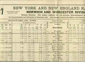1888 NEW YORK & NEW ENGLAND RAILROAD EMPLOYEES TIMETABLE BROADSIDE