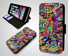 Skate Stickerbomb Collage JDM New Racing VW Vans Leather Wallet Phone Case Cover