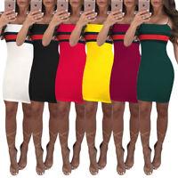 Womens Short Mini Skirt Bodycon Casual Dress Halter Clubwear Costume Sleeveless