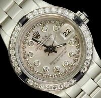 Rolex Ladies Datejust Date Oyster Steel Diamond Dial Bezel Sapphire Watch