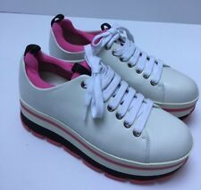 PRADA New woman white Pink Leather Sneakers shoes Platform Size 36