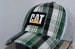 CAT Plaid Trucker Mesh Snapback Caterpillar Heavy Equipment Vintage Cap Diesel