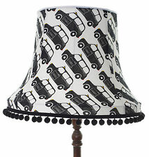Handmade lampshade in London taxi black white fabric for standard lamp / ceiling