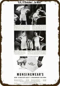 1941 MUNSINGWEAR Men Underwear Vintage Look Metal Sign BILL & HENRY PILLOW FIGHT