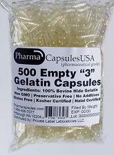 500 EMPTY GELATIN CAPSULES SIZE 3 BULK Kosher Halal 500 Gel Caps Pure