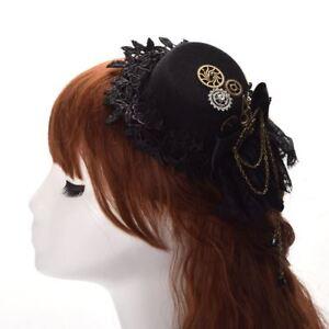 Retro Steampunk Gear Plague Bird Chain Hat Hair Clip Gothic Victorian Headwear