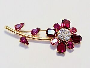 Swarovski Gold Plated Pink and Red Crystal Flower Brooch