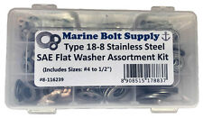 """Stainless Steel SAE Flat Washer Assortment Kit (Sizes #4 to 1/2"""")"""