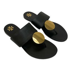 TORY BURCH Patos Disc Leather Sandal Size 7.5 Black Gold