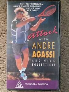 RARE tennis VHS video (PAL): Attack with Andre Agassi & Nick Bollettieri