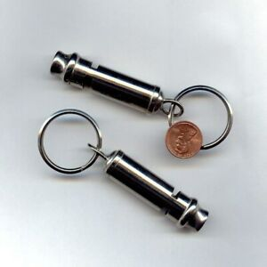 """1 VINTAGE SILVER PLATED 3"""" LONDON ENGLISH BOBBY WHISTLE KEY RING KEY CHAIN 155"""