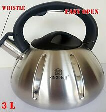 Whistling Kettle 3.0 L Stainless Steel Camping Silver/ Black induction