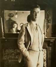 ANTIQUE VINTAGE PHOTOGRAPHER SELFIE MAN IN THE MIRROR ARTISTIC VERNACULAR PHOTO