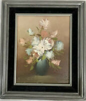 Vintage Still Life Floral Oil Painting Signed Painted Wood Frame Flowers Roses