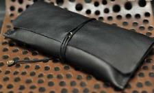 women Cosmetic storage bag Makeup box case pencil pen cow Leather black Z703