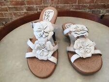 Born Juniper White Leather Flower Detail Slide Sandals 8 New