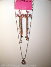 Betsey Johnson HUGE Round Pink Crystal pendant necklace rose gold bow earrings
