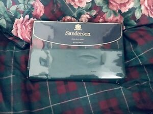 NWT SANDERSON BRAEMAR Luxury Percale FULL size  Plaid FLAT SHEET  unopened