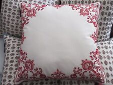 """Chaps Juliette Ivory Cream Red Floral Embroidered Decorative Pillow 20"""" Square"""
