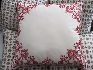 "Chaps JULIETTE Ivory Cream Red  Floral  Embroidered Decorative Pillow 20"" Square"