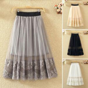 Women Tulle Skirt Pleated Dress A-line Elastic High Waist Long Mesh Skirts Cute