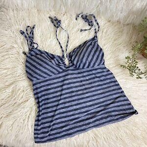 Oakley Women's Gray Striped Bathing Suit Swimsuit Top Tankini Swim Sz M Padded